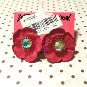 Betsey Johnson Pink Floral Earrings